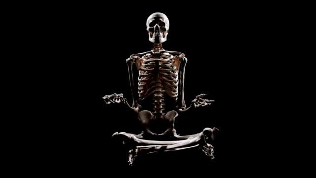 human skeleton sitting at lotus pose and pointing with hands - i̇nsan i̇skeleti stok videoları ve detay görüntü çekimi