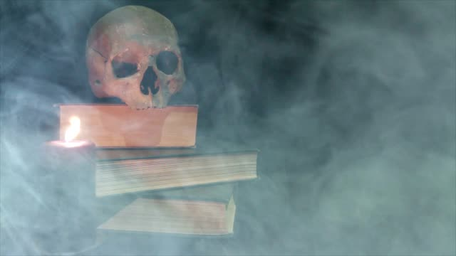 Human skull and book in the smoke video