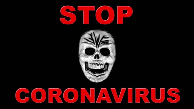 human skull and stop coronavirus message - comparsa video stock e b–roll