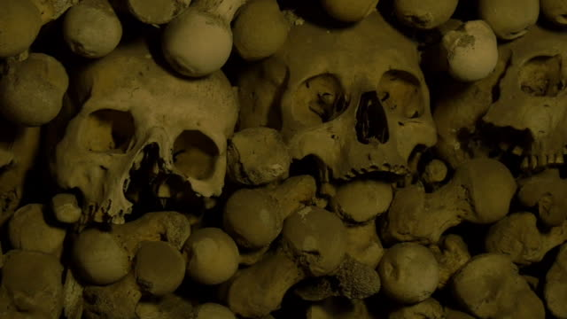 Human Skulls And Bones In An Ossuary Handheld panning right shot skull stock videos & royalty-free footage