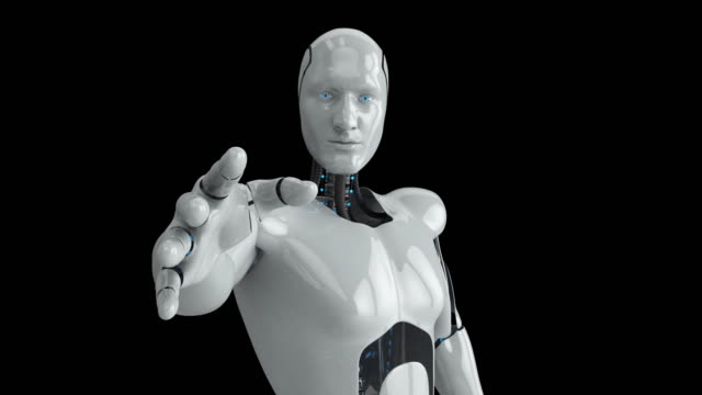 Humanoid male robot reaching out video