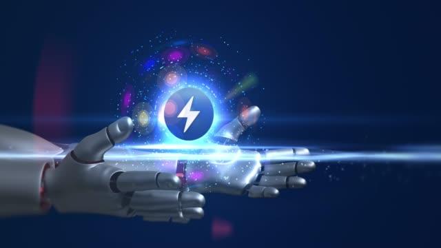 3D elektrik sembolü tutan Humanoid Robot kollar video