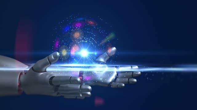 Humanoid Robot kolları tutan ışık kaynağı video