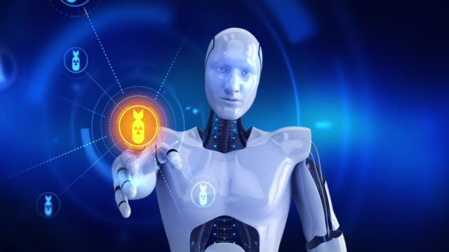 Humanoid robot touching on screen then nuclear bomb symbols appears video