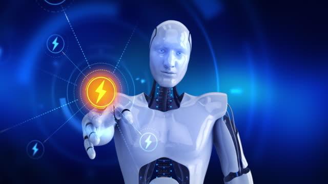 humanoid robot touching on screen then thunderbolt symbols appears - lightning стоковые видео и кадры b-roll