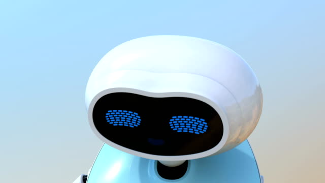 Humanoid robot with touch screen isolated on light blue background video