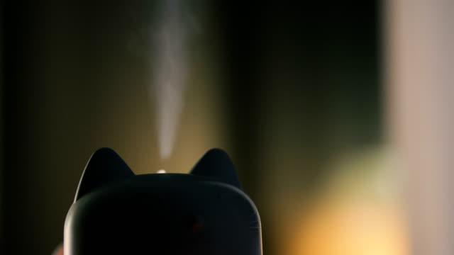加湿 器。猫の形の加湿器。 - 加湿器点の映像素材/bロール