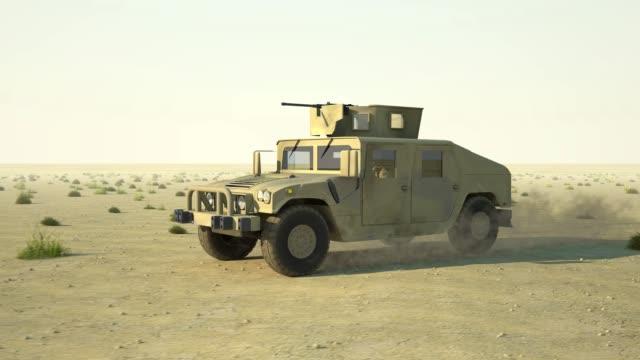 humvee rides on desert - dakar video stock e b–roll