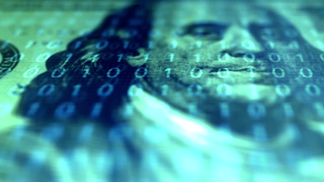 Hundred Dollar Bill Ben Franklin Close up - Cryptocurrency Binary Code Overlay