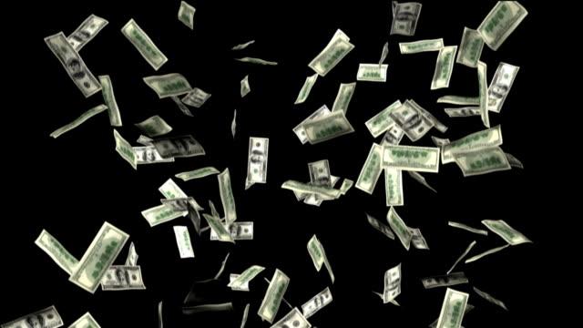 Hundred Dollar Bills Falling (Alpha  HD) video
