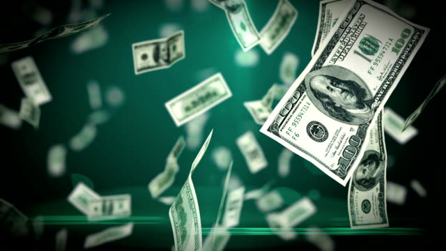 Hundred Dollar bills flying up in looped animation. HD 1080. video