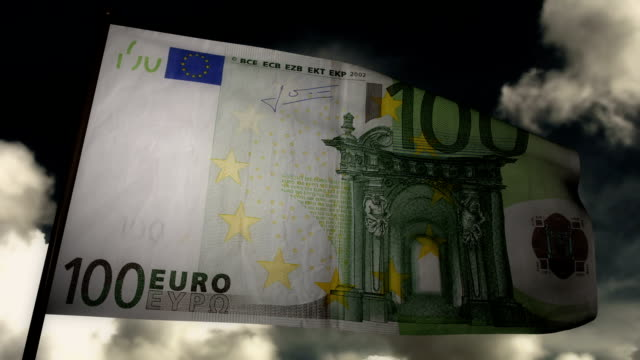 Hundred Euros bill flag
