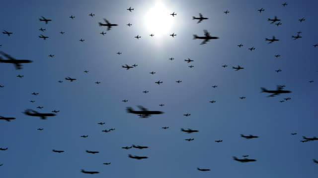 Hundreds of Planes, heavy traffic in the sky HD. Loopable. video