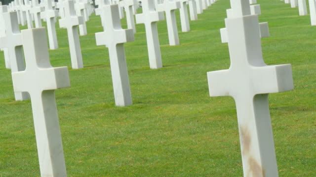 Hundreds of white cross on Normandy American Cemetery video