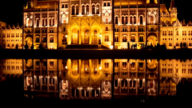 Hungarian Parliament, Budapest, Hungary Night shot of the Hungarian Parliament Building reflected in water. It is an iconic landmark of Budapest, completed in 1904 black and white architecture stock videos & royalty-free footage