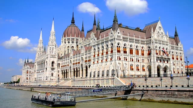 Hungarian parliament building. View from river Danube Hungarian parliament building. View from river Danube gothic architecture stock videos & royalty-free footage