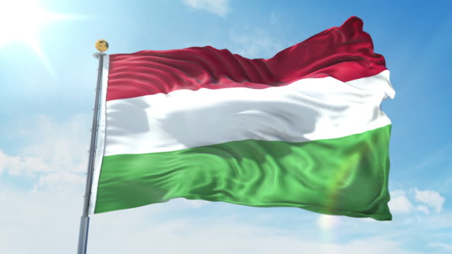 Hungary flag waving in the wind against deep blue sky. National theme, international concept. 3D Render Seamless Loop 4K Hungary flag waving in the wind against deep blue sky. National theme, international concept. 3D Render Seamless Loop 4K allegory painting stock videos & royalty-free footage