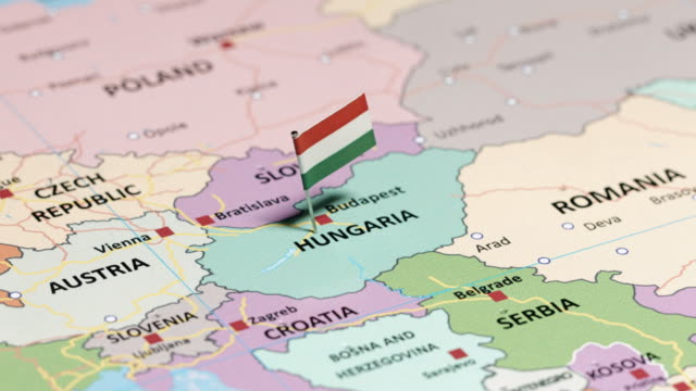 Hungary with national flag tracking to Hungary with national flag hungary stock videos & royalty-free footage