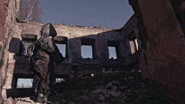 Hungry Homeless Child Near The Ruins. Refugees video