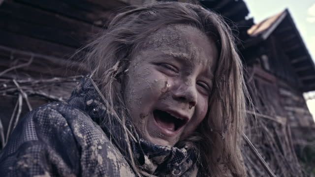 Hungry Homeless Child Near The Ruins. Refugees Hungry Homeless Child Near The Ruins. Refugees hope concept stock videos & royalty-free footage