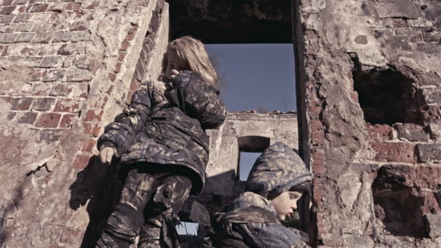 Hungry Homeless Childs Near The Ruins. Refugees video