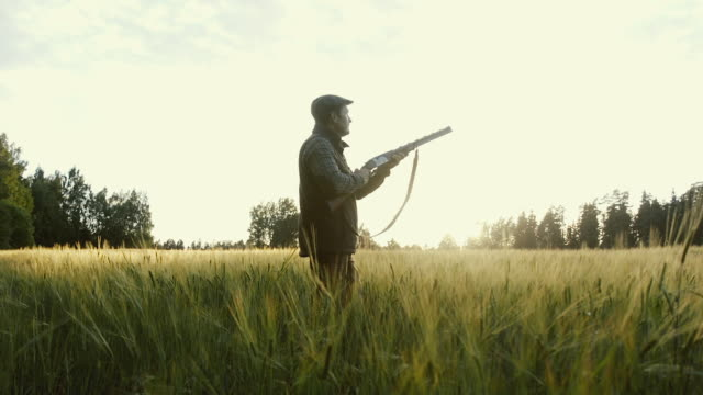 Hunter gets ready to shoot a weapon at golden hour video