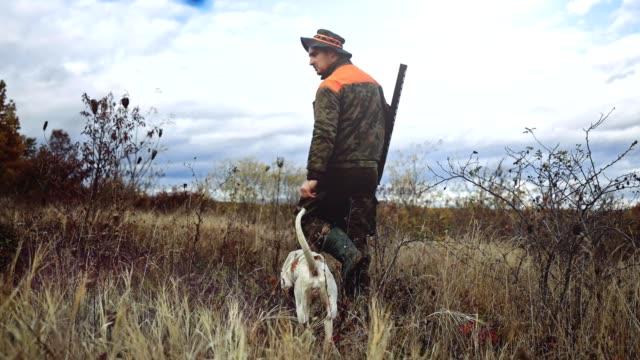 vidéos et rushes de chasseur avec ses chiens stock vidéo - chasser