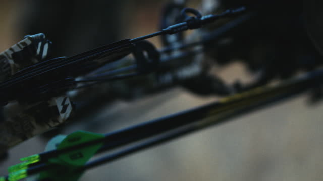 A hunter's bow sits closeup, showing his arrows, the cams and the beauty of a high quality compound bow. This shot evokes emotion due to the shallow depth of field. It can symbolize adventure, fright, power, etc. video