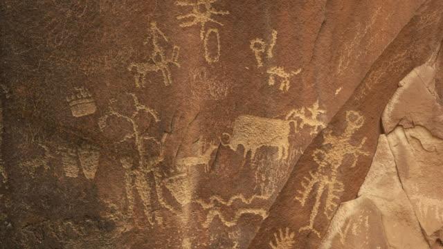 hunting bison drawing on newspaper rock in utah