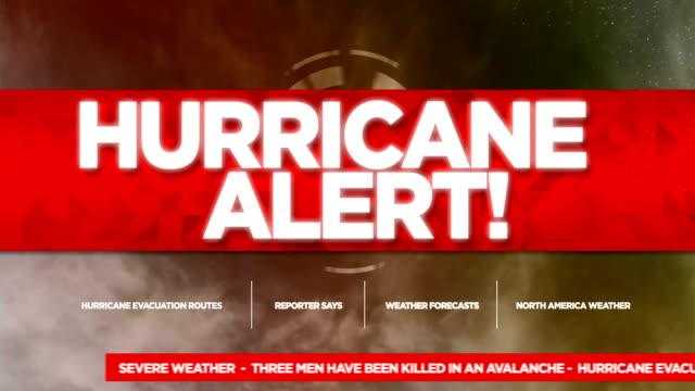 vídeos de stock e filmes b-roll de hurricane alert broadcast tv graphics title - prontidão