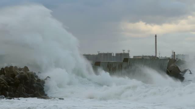 hurricane breakwater at the port - uragano video stock e b–roll