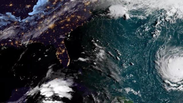 2018 hurricane florence landfall satellite time lapse - climate change video stock e b–roll