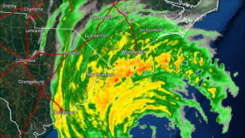 vídeos y material grabado en eventos de stock de lapso de tiempo de 1996 huracán fran recalada radar - tiempo