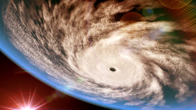 Hurricane over the ocean, inverted view, 3D animation video