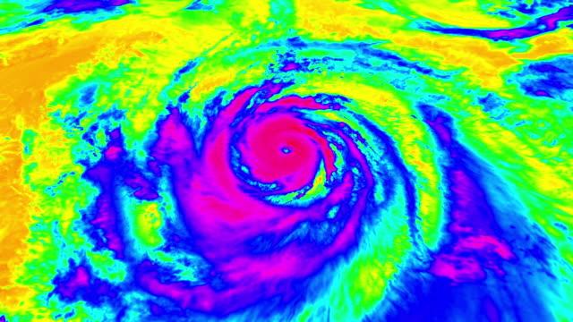 vídeos de stock, filmes e b-roll de vista aérea de satélite furacão de weather radar - meteorologia