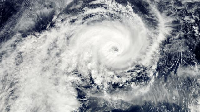 hurricane storm, satellite view. - clima video stock e b–roll
