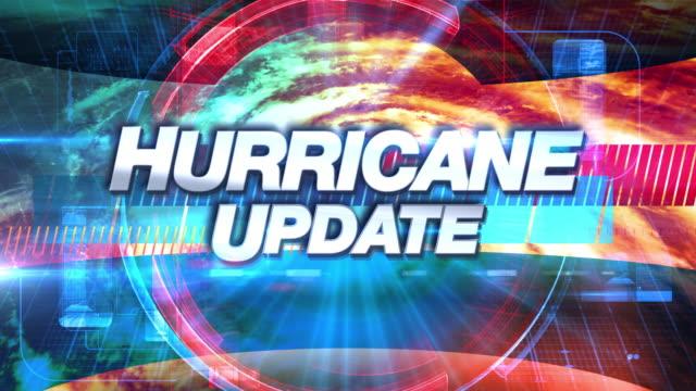 hurricane update - broadcast tv graphics title - uragano video stock e b–roll