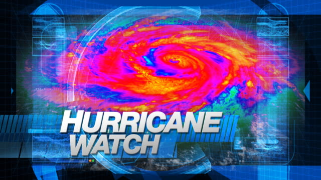 Hurricane Watch - Broadcast Graphics (Infrared)  meteorology stock videos & royalty-free footage
