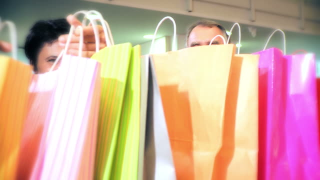 hd: husband and wife shopping - baby boomer stock videos and b-roll footage