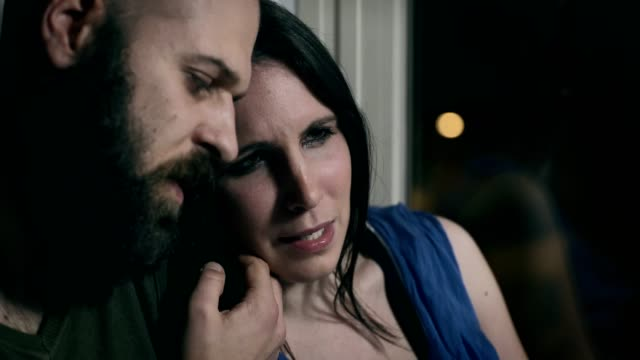 husband comforts his sad wife crying because they lost a child video