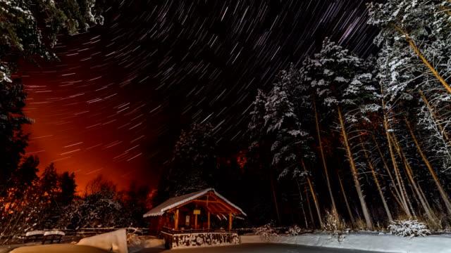 Hut on a winter night. video