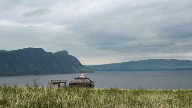 Hut, on the banks of the Yenisei River video