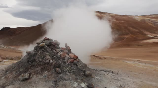 Hverarond Geothermal Area Iceland hissing steam vents Mount Namaskard video