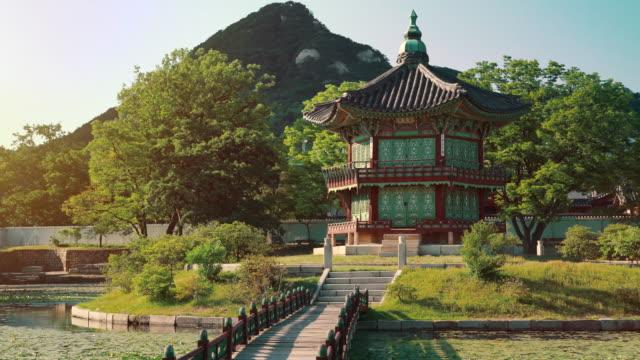 Hyangwonjeong Pavilion Hyangwonjeong Pavilion at Gyeongbokgung Palace in Seoul, South Korea gyeongbokgung stock videos & royalty-free footage