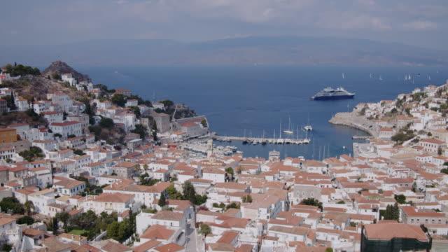 hydra island, grecja port timelapse 4k - attyka grecja filmów i materiałów b-roll