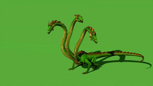 hydra mystical water snake ryczy na zielonym tle ekranu - potwór filmów i materiałów b-roll