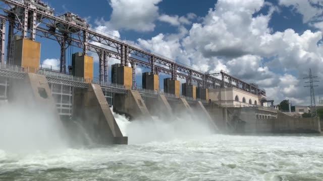 Hydro Power Plant Dam, Dubasari, Moldova, Dniester river Hydro Power Plant Dam, Dubasari, Moldova, Dniester river concrete architecture stock videos & royalty-free footage