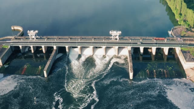 Hydroelectric Dam or Hydro Power Station, aerial view video