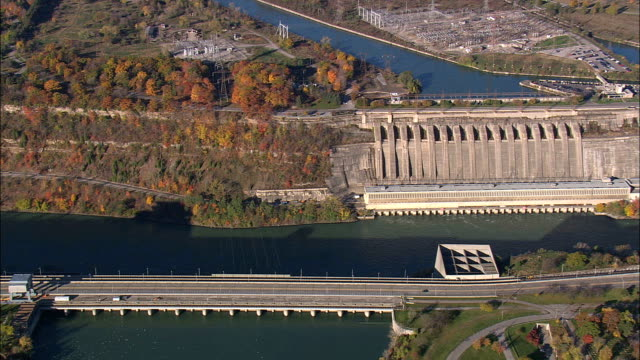 Hydroelectric Plants In Us And Canada  - Aerial View - New York,  Niagara County,  United States