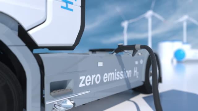 hydrogen logo on gas stations fuel dispenser. h2 verbrennung lkw-motor für emissionsfreien umweltfreundlichen transport. 3d-rendering - wasserstoff stock-videos und b-roll-filmmaterial